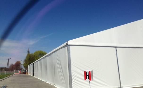 Namiot przemysłowy magazynowy od zewnątrz